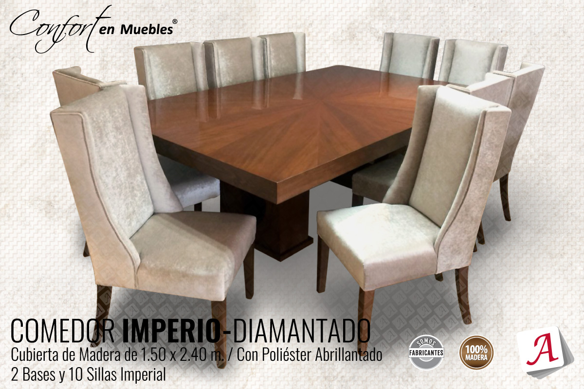Comedor Imperio Diamantado 10 Sillas Imperial
