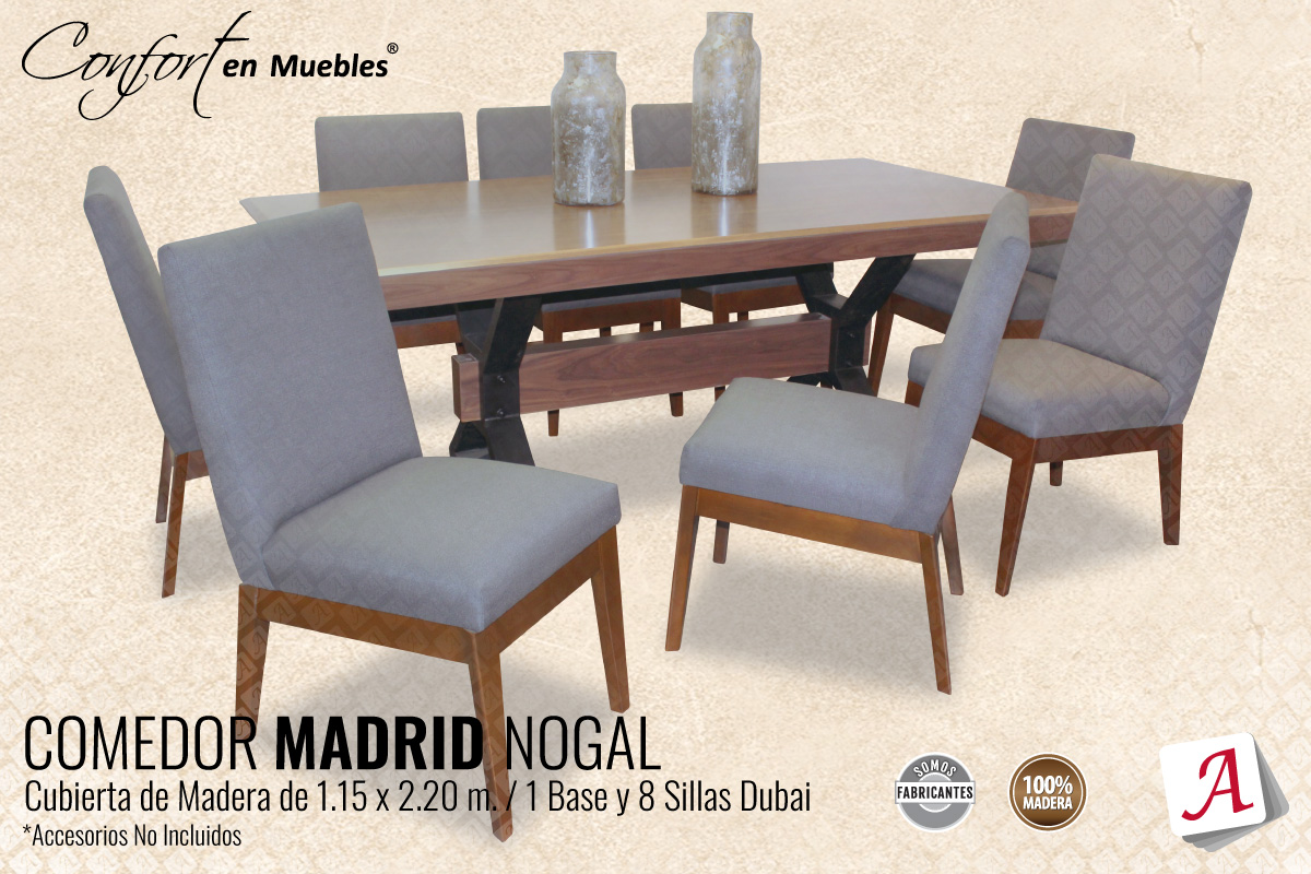 Comedor Madrid - Nogal, 8 Sillas Dubai