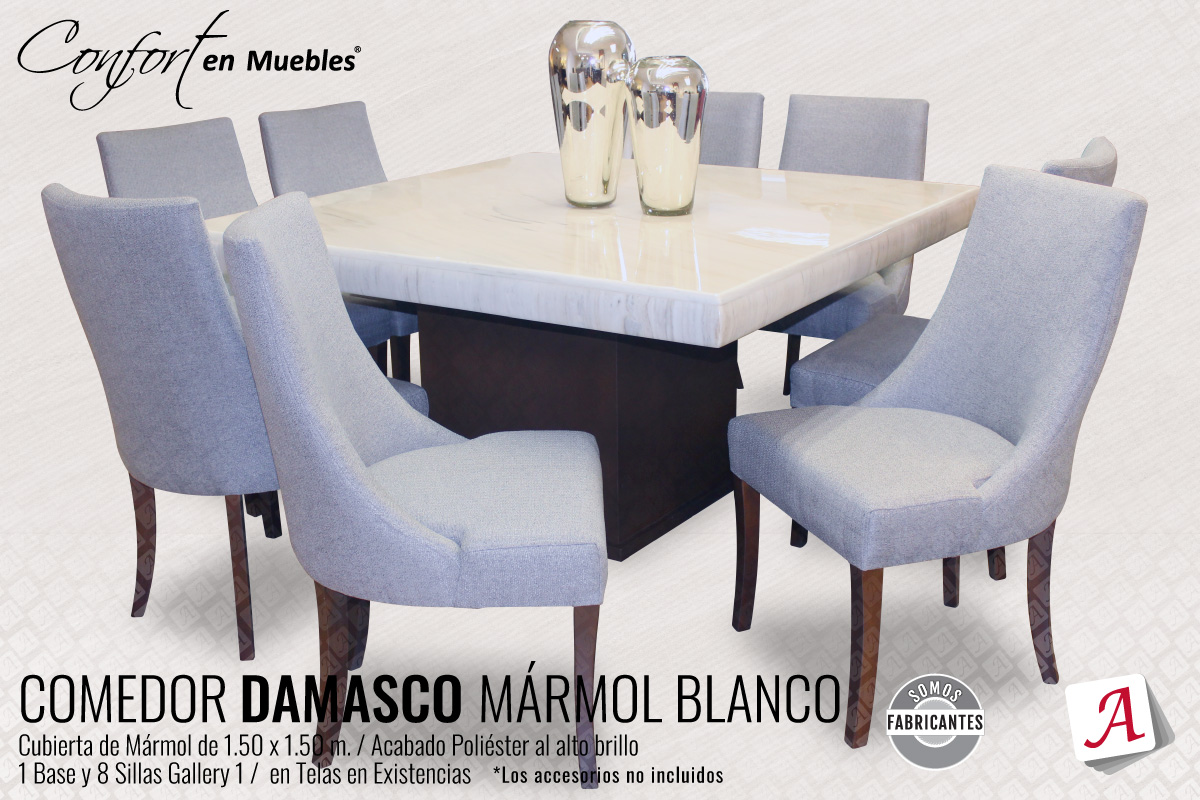 Comedor Damasco Mármol Blanco